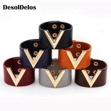2019 New V Shape Stylish Charm Wrap Leather Cuff Bracelets 90s For Wedding/Engagement Fashion Symbol Wristband Femme Jewelry