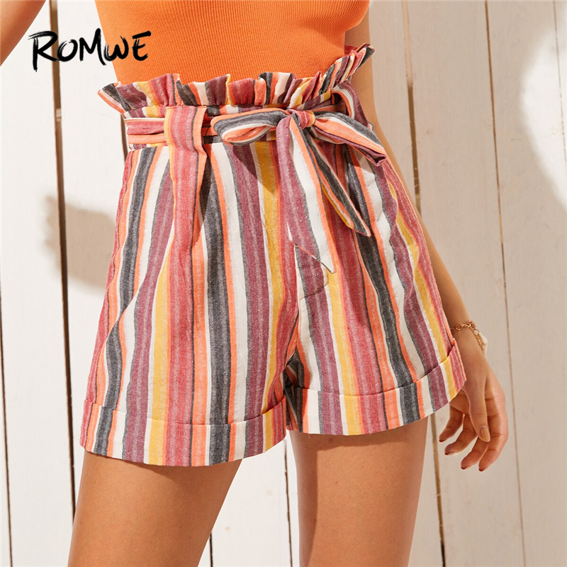 ROMWE Rainbow Striped Self Tie Belted Paperbag Waist   Shorts   Women Summer Streetwear Ruffle High Waist Bohemian Bottoms   Shorts