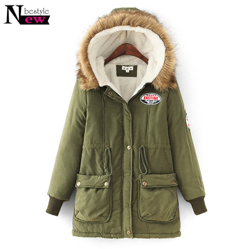 Fashion Autumn Women   Parkas   Winter Thicken Coats New Warm Casual Outerwear Hoodie Long Down Cotton Wadded Fur Collar Coat Jacket