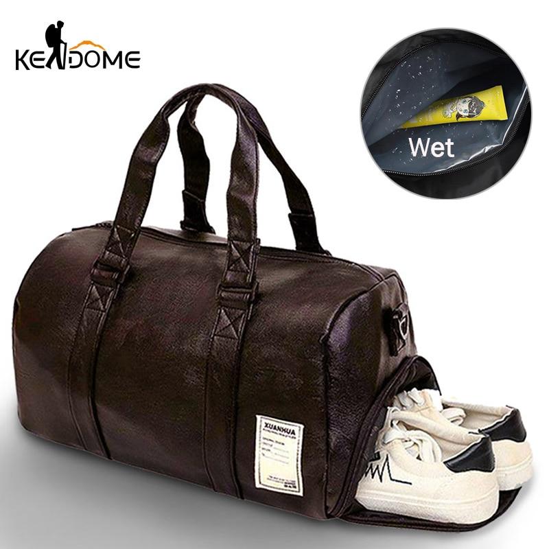 2020 Upgraded Dry Wet Simming Bag PU Leather Swim Bag Gym Tas Travel Bag For Women Men Waterproof Fitness Training Sack XA170D