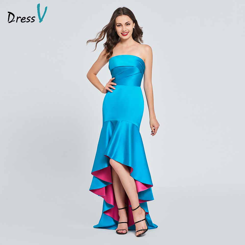 Dressv lake green homecoming dress strapless pleats ruffles floor length zipper up mermaid homecoming&graduation dresses