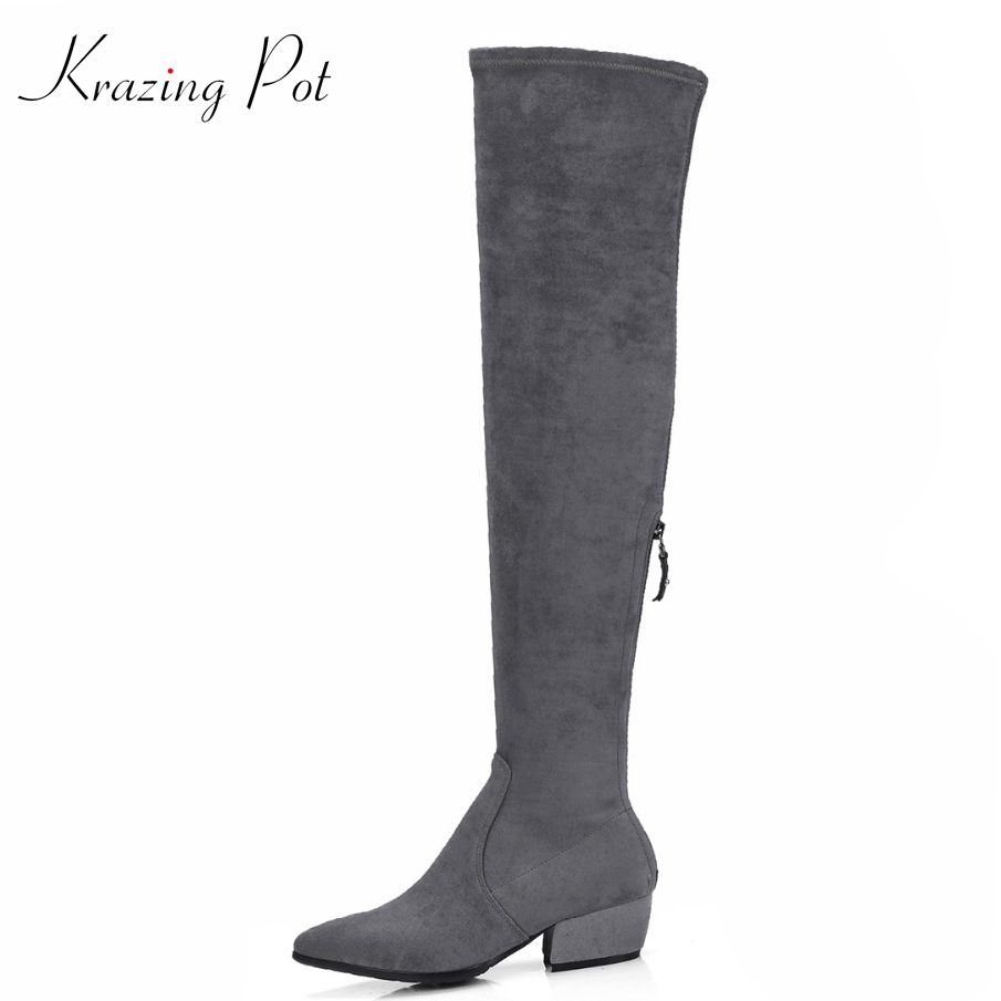 Krazing Pot high street fashion sheep suede beauty long legs square med heels zipper hollywood superstar over-the-knee boots L25