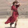 Plus Tamaño de Las Mujeres de la Vendimia de Boho Floral Con Cuello En V de Split Largo maxi dress beach summer dress casual 3/4 de la manga del partido vestidos de verano Vestido