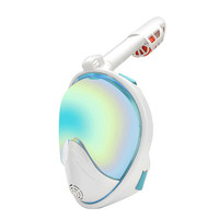 Snorkel Mask,Free Breathing Full Face Snorkeling Mask with Detachable GoPro Mount,Dry Top Set Anti fog Anti leak for Adults&Kids