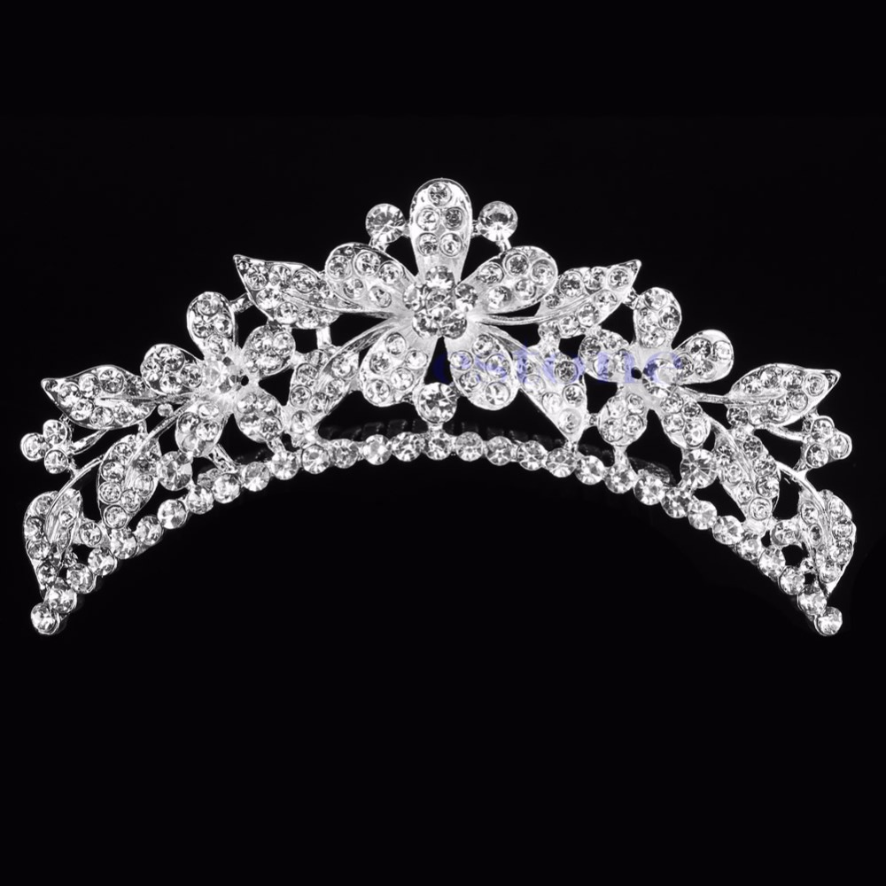 Wedding Flower Rhinestone Bridal Crystal Hair Headband Crown Comb Tiara Prom -W128