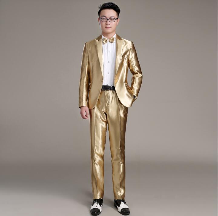 Пиджак мужчины торжественное платье самые последние модели брюк для костюма костюм мужские золотистые Homme мужской костюм брюк Брак Свадебн...