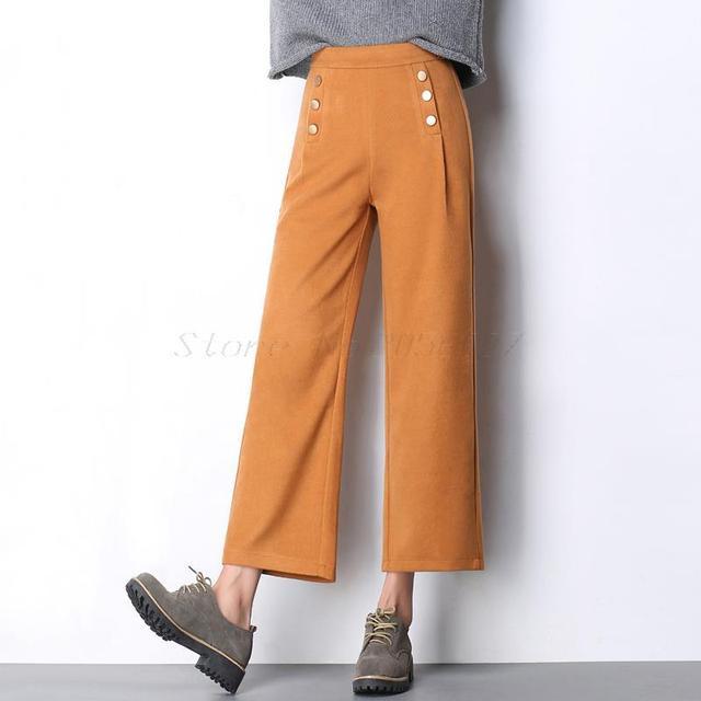 2016 Inverno preto amarelo cinza Calças de Lã Mulheres Casual Solta Macacão de Lã Calças Perna Larga Cintura Alta Botões Calças boho