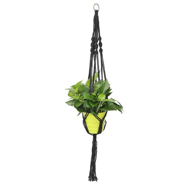 Handcrafted Braided Natural Jute Macrame Hanging Basket Plant Pot Holders Garden,Black