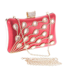 Bamboo Charm New Fashion Womens PU Evening Clutch Crystal Rhinestones Hasp Handbag Metal Chain Crossbody Shoulder Bag, 7 Colors