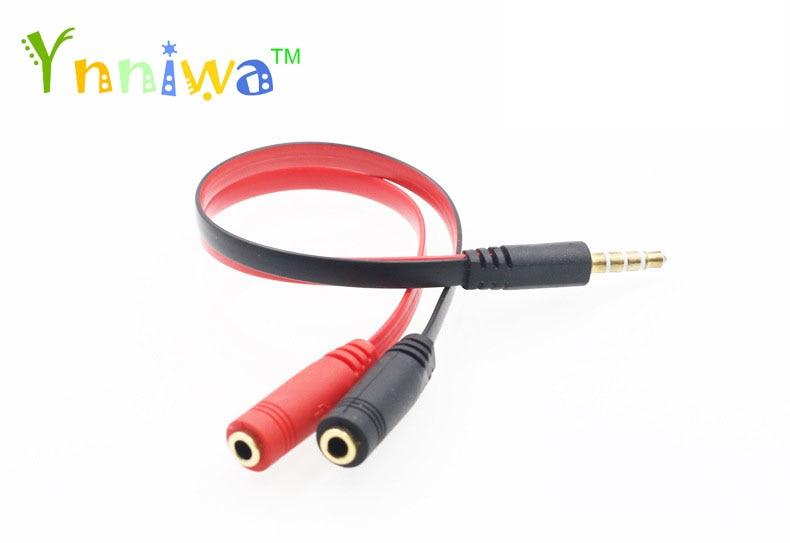 100 sztuk czarne-czerwony 3.5mm Jack 1 męski na 2 żeńskie rozdzielacz audio do mikrofonem Adapter kabel do pad telefon komórkowy z systemem Android MP3 MP4