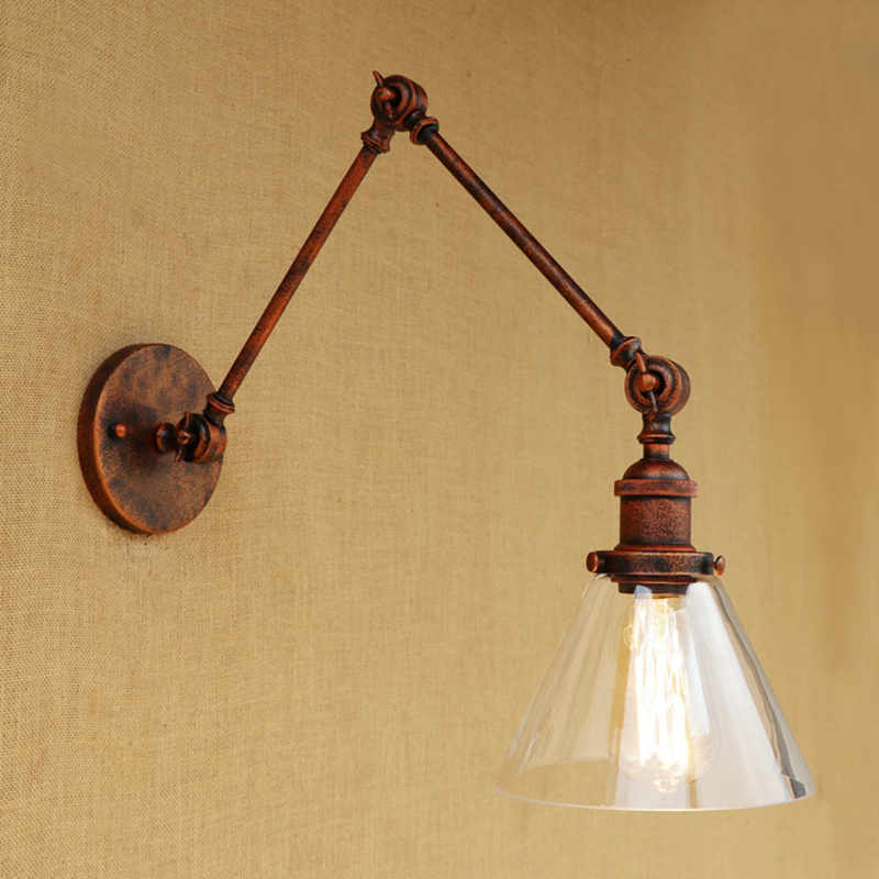 Modern RETRO metal wall light Industrial CLEAR GLASS lampshade free adjust long swing arms for living room restaurant bar E27 vintage industry loft e27 bedroom wall light wall lamp clear glass lampshade free adjust long swing arms for living room