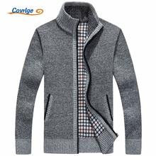 Covrlge Men's Turtleneck Sweater 2017 Winter New Plus Velvet Thick Male Cardigan Fashion Mens Zipper Sweater Knit Jacket MZM019