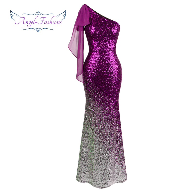 Prom     Dresses   Angel-fashions Contrast Color twinkling Sequin Mermaid Party   Dresses   Purple 286