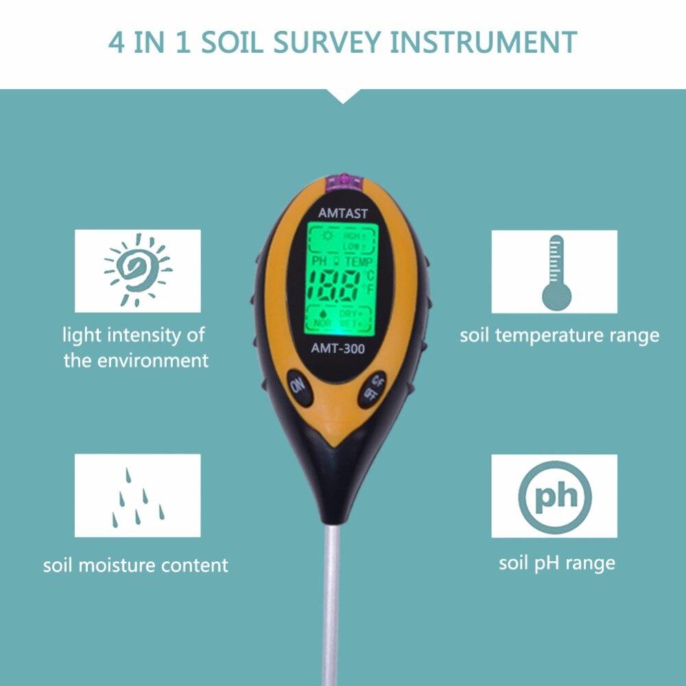 Werkzeuge 4in1 Anlage Erde Boden Ph Feuchtigkeit Licht Boden Meter Thermometer Temperatur Tester Sonnenlicht Tester