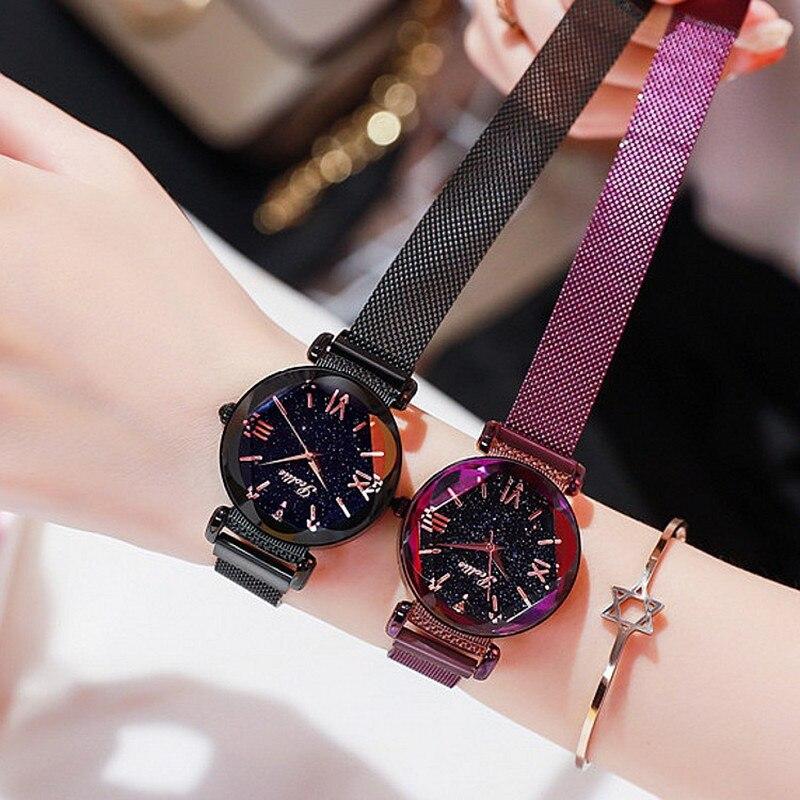 Top luxe dame montre femmes robe cristal montres mode bleu Rose or Quartz montres femme Simple aimant boucle montres