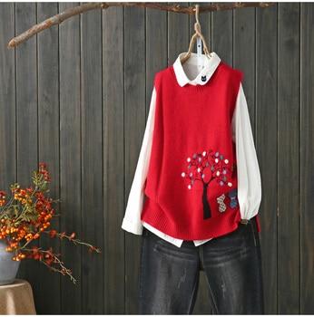 cats under tree kitty  pattern  sleeveless vest pullover sweater  2019 mori girl 8
