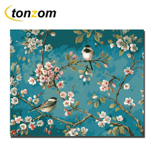 RIHE Lively Birds Diy Painting By Numbers Spring Oil Cuadros Decoracion Acrylic Paint On Canvas Modern Wall Art Gift