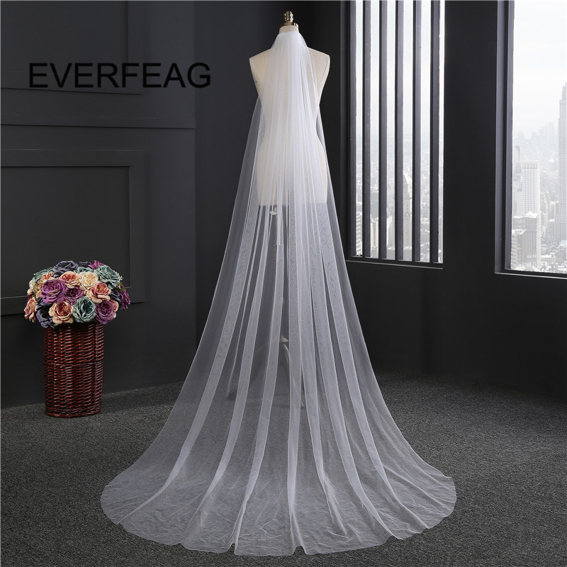 3m Wedding Veil Long Soft Ivory White Cathedral 1T Bridal Veils With Comb Wedding Accessories 2019 Voile Mariage Stock