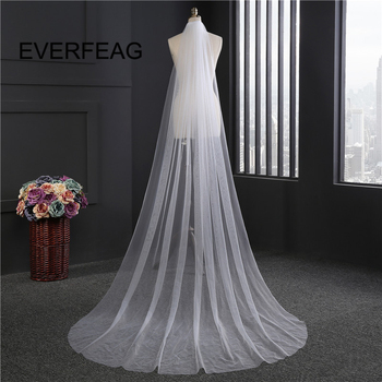 3m Wedding Veil Long Soft Ivory White Cathedral 1T Bridal Veils with Comb Wedding Accessories 2020 voile mariage Stock 2019 new white ivory cathedral wedding veils voile mariage 3 meter long applique edge bridal veil with comb wedding accessories