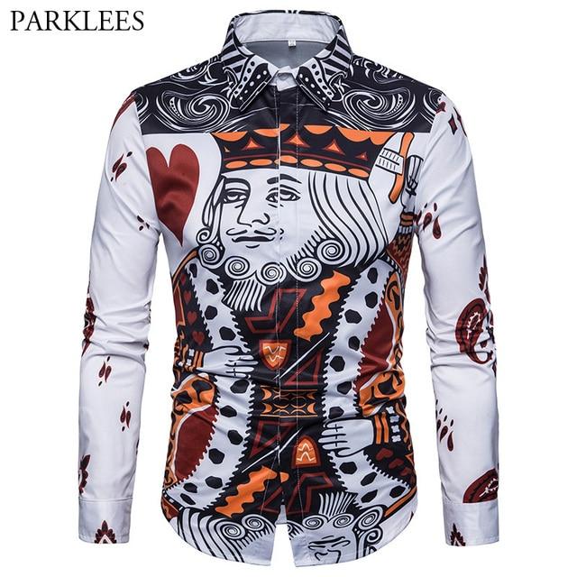 0132d130b3e9 Poker Print Shirt Men 2018 Brand New Casual Slim Fit Long Sleeve Dress  Shirt Chemise Homme