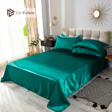 Liv-Esthete 2019 Hot Sale Wholesale Luxury 100% Satin Silk Green 1PCS Flat Sheet Silky Queen King Bed Sheets For Women Men