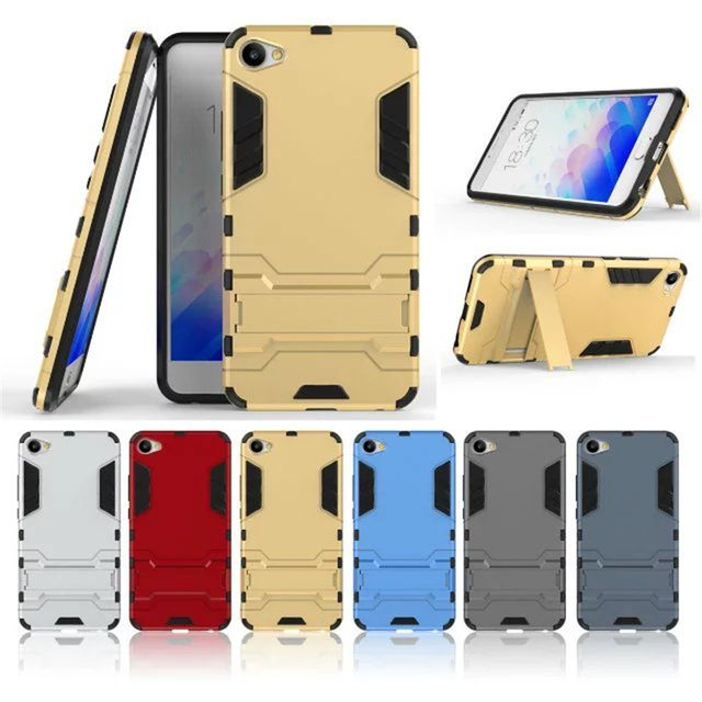 Meizu M3X Case ! Soft Silicon + PC Hard Armor Iron Man Fitted Case For Meilan X Phone Anti-knock Back Cover With Stand