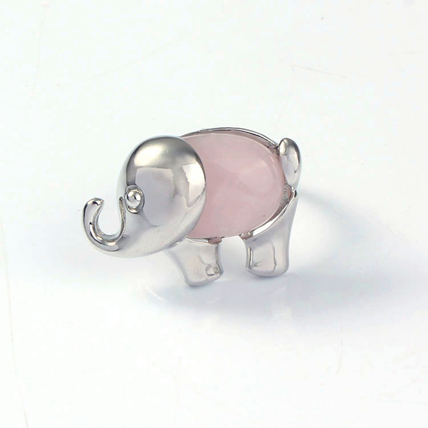 FYJS Unique Elephant Shape Natural Rose Pink Quartz Resizable Finger Ring For Women Silver Plated Jewelry