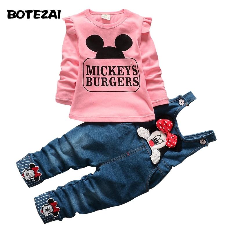 New Autumn font b Children s b font Sets Minnie T shirt Denim Overalls Girl font