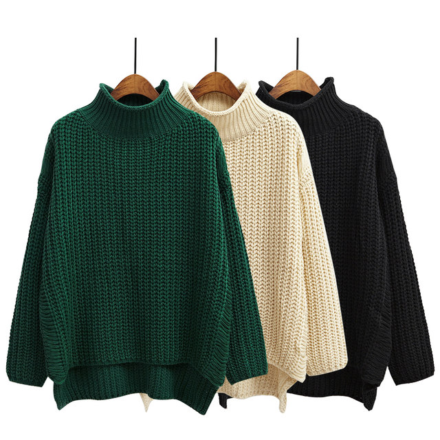 4f1bac338b Harajuku Sweaters Women Sweaters and Pullovers 2018 Korean Style Autumn and  Winter Cute Twist Curling Turtleneck Retro Sweater