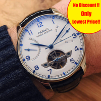 43mm Parnis Skeleton Watch Automatic Men's Watch PVD Case Power Reserve Tourbillon Mechanical Watches Men Gift Relogio Masculino