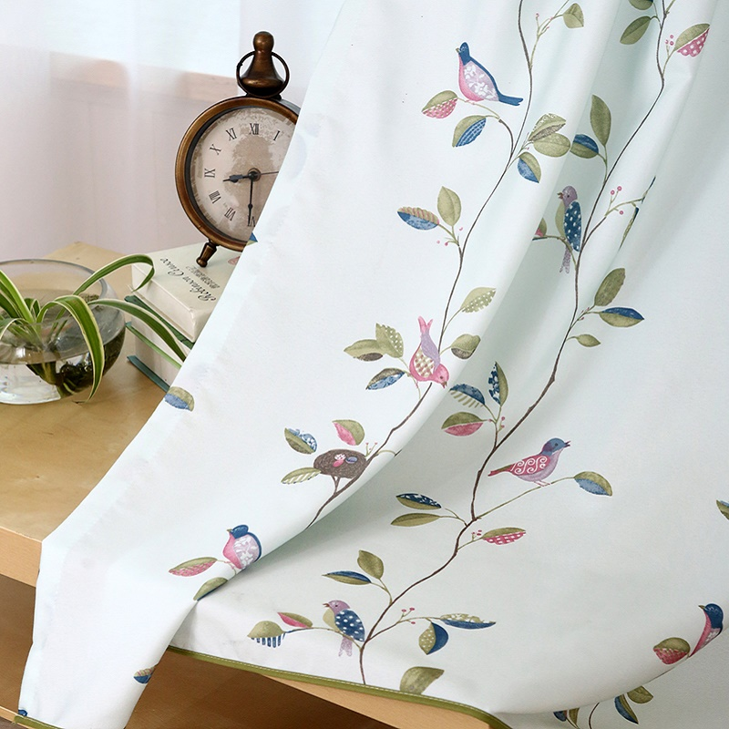 Pastorāli zili rozā lapas putnu logu aizkari viesistabas / - Mājas tekstils