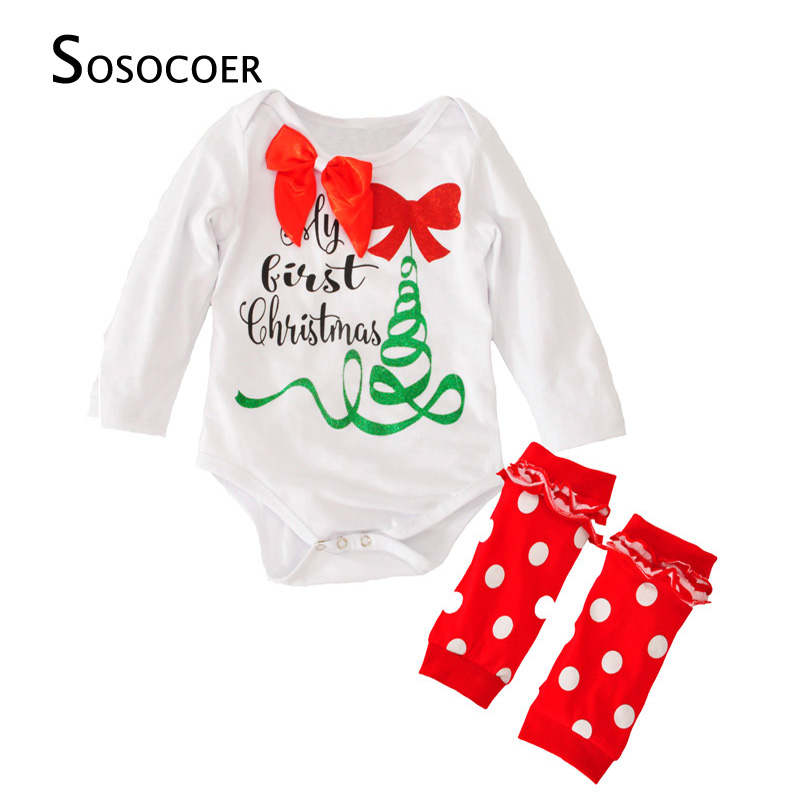 SOSOCOER Baby Girls Clothing Set My First Christmas Tree Bow Rompers+Polka Dot Leg Warmer 2pcs Kids Girl Clothes Outfits Sets my christmas cd