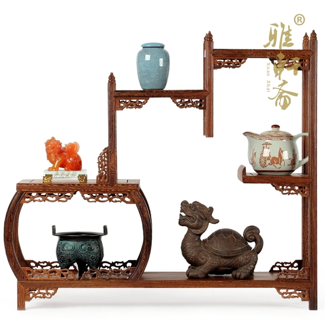 Curio Cabinet Shelf Mahogany Frame Wooden Ornaments Teapot Wings Of Modern Chinese  Antique Furniture Mostly Treasure