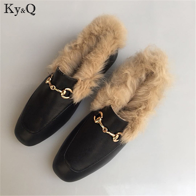 9bbe7f6730 US $24.85 |2018 New Brand Leather Female Slippers EU Size Shoes fashion  Flat Half Wool Shoes Slippers Fur Drop Ship-in Women's Flats from Shoes on  ...