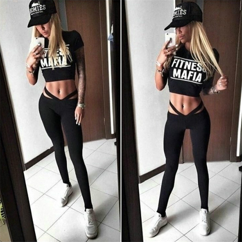 Two Piece Sport Suit Women Yoga Set Short Sleeve Crop Top TShirt and Leggings Sexy Yoga  ...