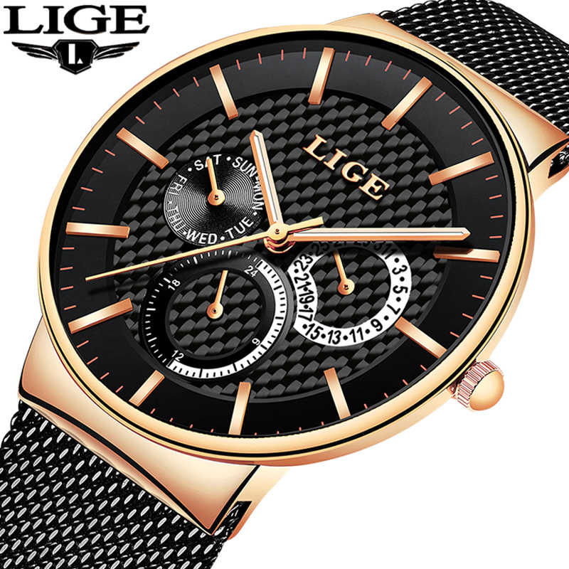 LIGE New Fashion Mens Watches Top Brand Luxury Quartz Watch Men Casual Slim Mesh Steel Waterproof Sports Watch Relogio Masculino