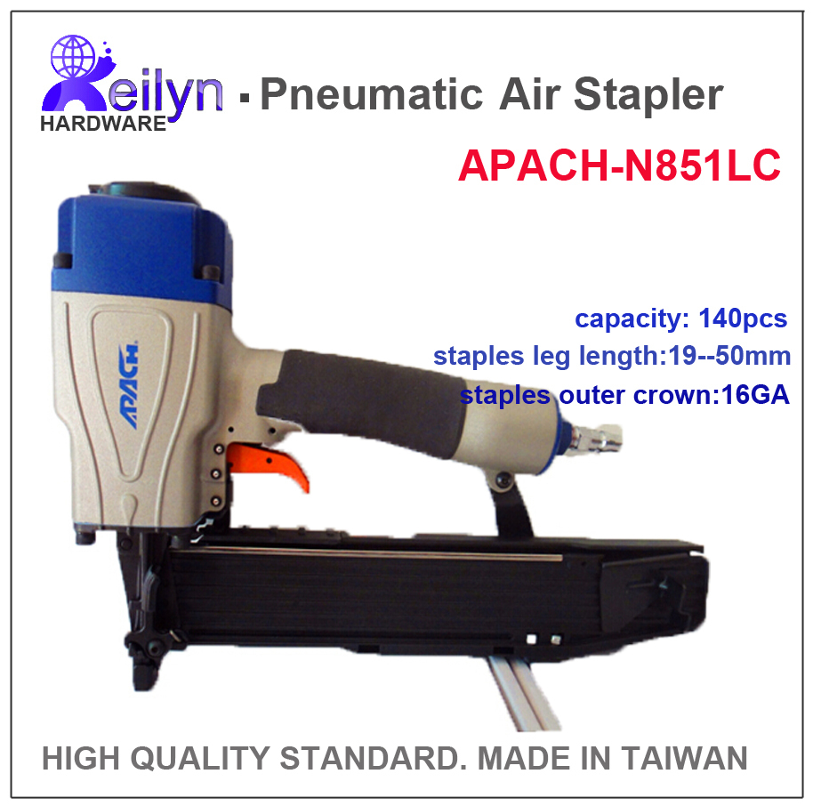 N851LC APACH Industrial Air Stapler ( Pneumatic Code Nail Gun ) made in Taiwan, high quality standard