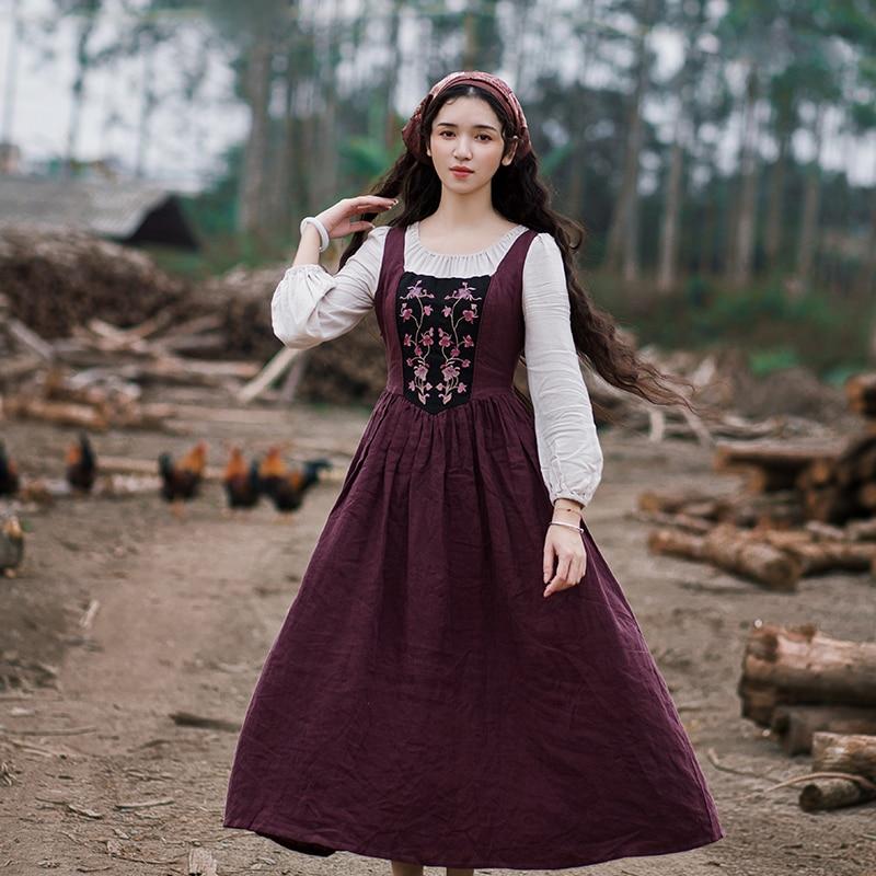 2019 Spring Women Dress Long Sleeve Embroidery Cotton And Linen Patchwork Slim Elegant Retro Midi Dress O-Neck Women Clothes New