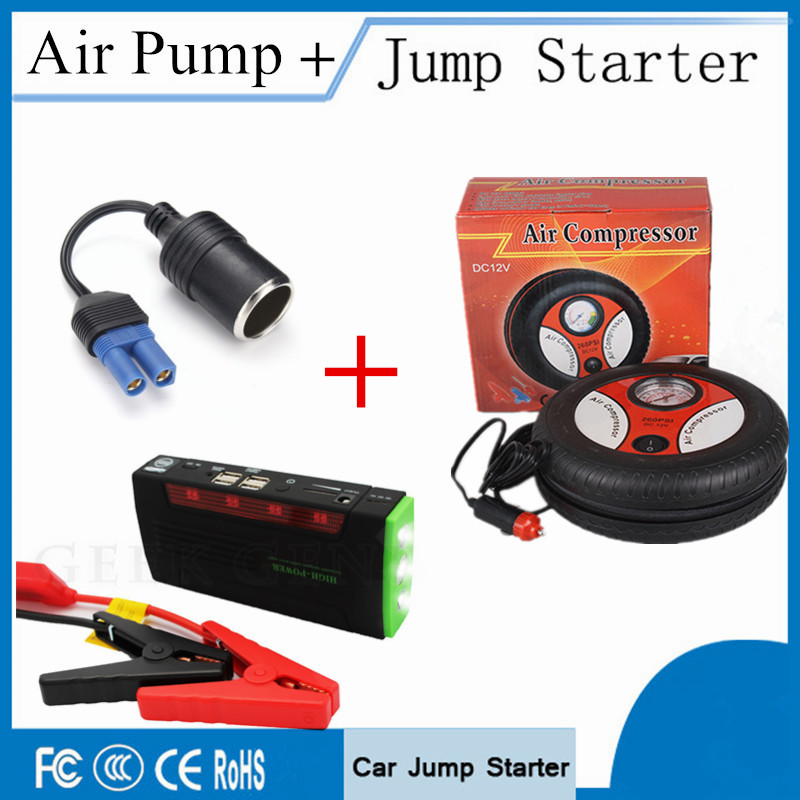 Emergency Car Jump Starter 68800mAh 12V Starting Device 4USB Power Bank Diesel Car Charger For Car Battery Booster Car Air Pump portable starting device 68800mah car jump starter 4usb power bank 600a pack car battery charger for petrol diesel car starter