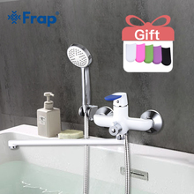 Frap 1set Modern Style Bathtub Faucet Wall Mounted bathroom shower faucets set Cold and Hot Water Mixer Tap 35cm Long Nose F2234 недорого