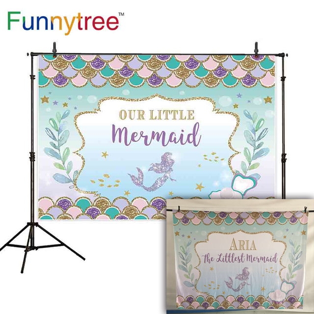 Funnytree background photophone mermaid pretty girl seabed underwater shell pearl colorful fish scale newborn photocall backdrop