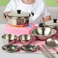20 unids lote Bebé de Acero Inoxidable Set de Cocina Juguetes de Regalo de Navidad En Miniatura de Cocina Cocinar Herramientas de Simulación Juego Juguetes Casa