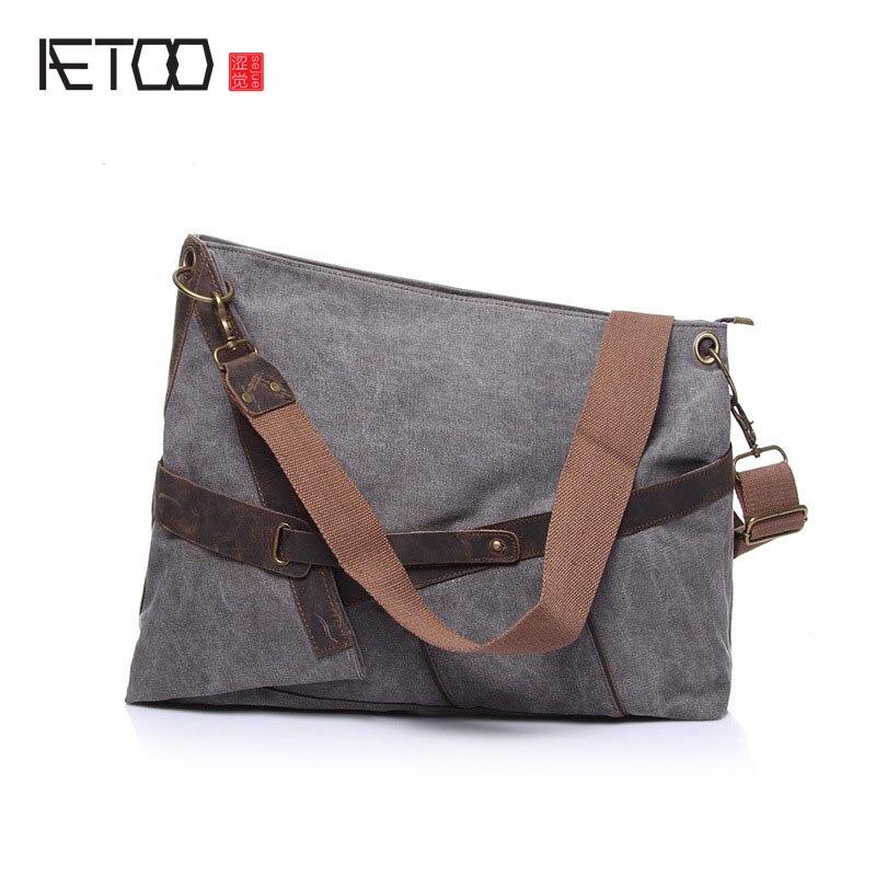 Cloth Shoulder Skew Canvas Bag With Crazy Horse Leather Bag Large Capacity Men Women Style Bag