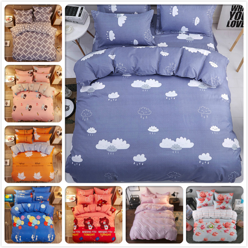 Kids Soft Cotton 3pcs/4pcs Bedding Set Single Twin Queen Size Duvet Cover Bed Linen 1.5m 1.8m 2m Bedspreads Bedsheet Pillow Case