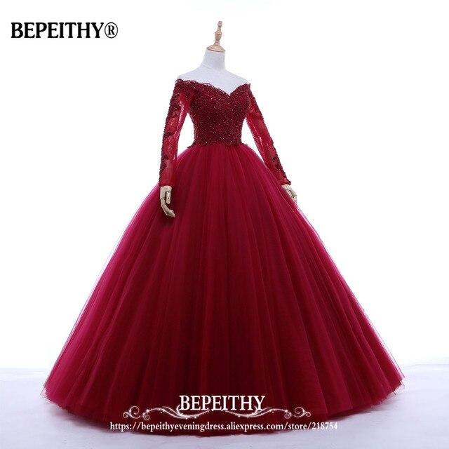 New Arrival Ball Gown V-neck Long Evening Dress Party Elegant Vestido De Festa Full Sleeves Prom Gowns 2019 3