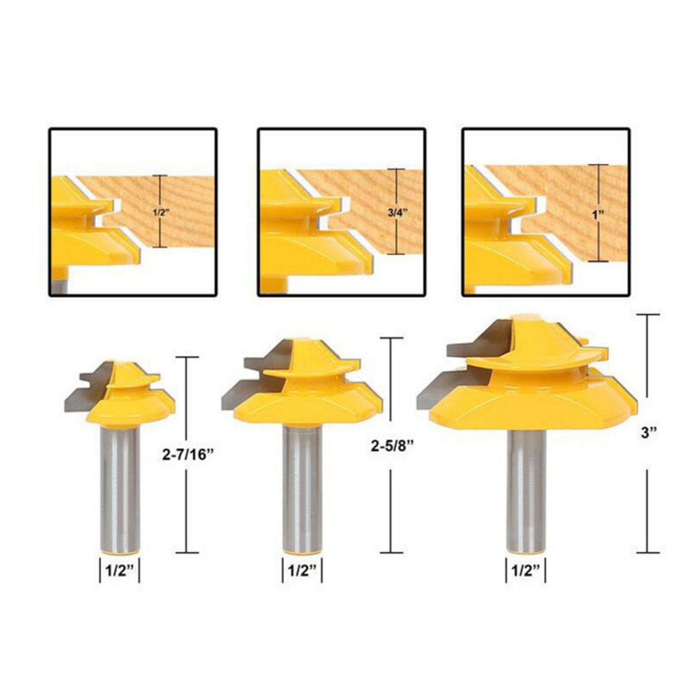 DRELD 3pcs 45 Degree Lock Miter Router Bit Wood Cutter 1/2'' Shank Tenon Cutter Milling Cutters For MDF Plywood Woodworking Tool