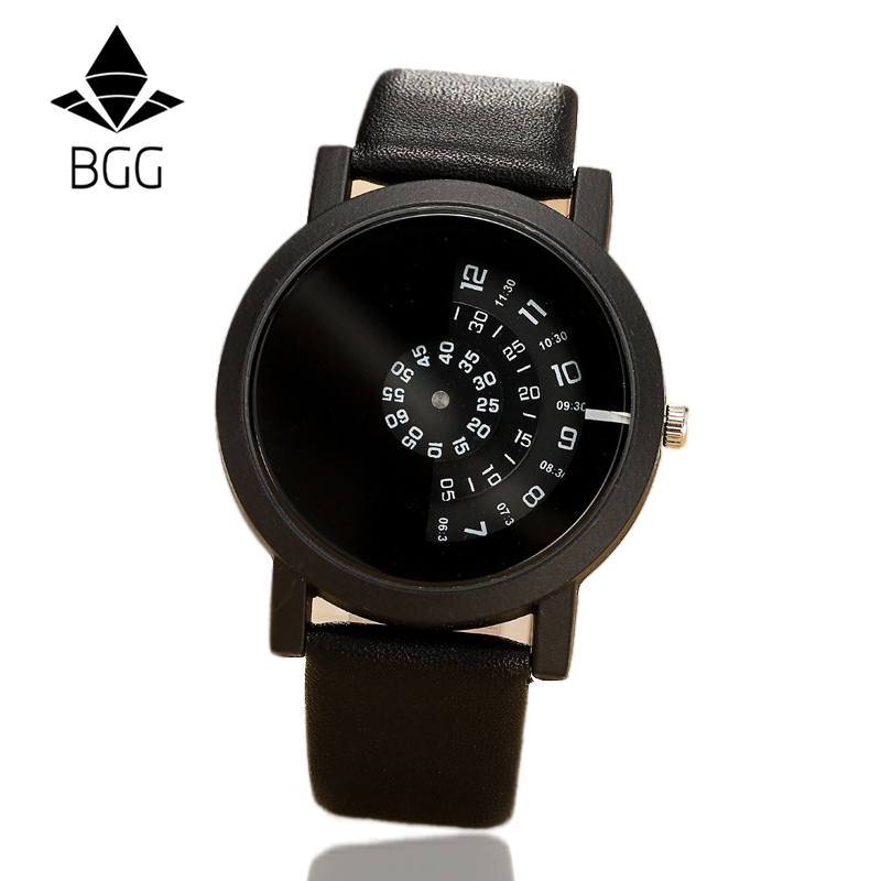 2017 BGG creative design wristwatch camera concept brief simple special digital discs hands fashion quartz watches for men women 1