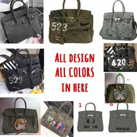 Canvas Military Navy Green Lock Platinum Tote Bag Portable Graffiti DIY Messenger Bag Ladies' Hand Bag Female Shoulder Bag Y
