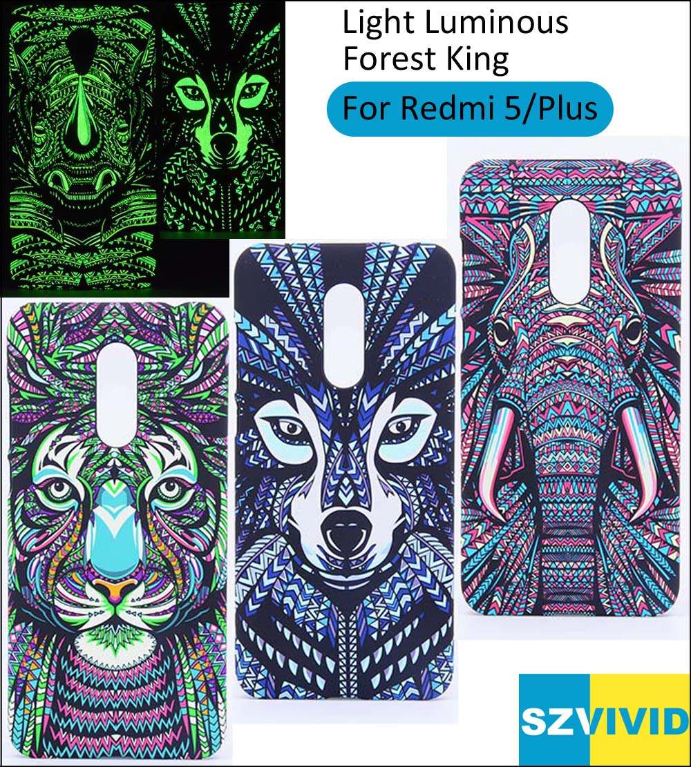Tiger Elephant Lion Wolf Cover Case For Xiaomi Redmi 5 Plus Forest King Light Glow in Dark Night Luminous 5.7 5.99 inch