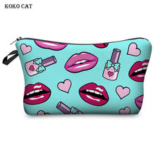 Multicolor Sexy Lips Pattern Makeup Bags Women Cosmetic Bag Travel Organizer Cosmetics Pouchs Ladies Toiletry Pack Pencil Case